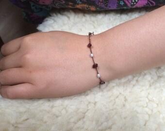Garnet and pearls Bracelet - Reseved for Gabrielle