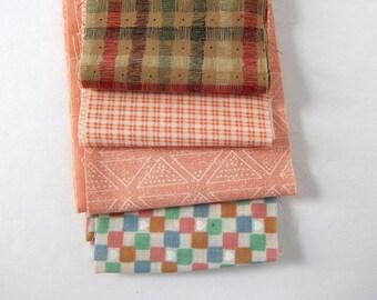 Peachy Checks and Geometrics Cotton Fabric Strips