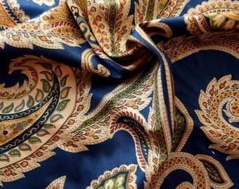 Blue and Gold Paisley Home Dec Fabric Yardage