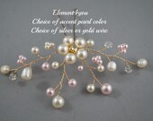 Wedding hair pin Bridal hair accessories Swarovski white pink Pearls Freshwater pearls Gold vines Flower hair clip Rhinestone handmade