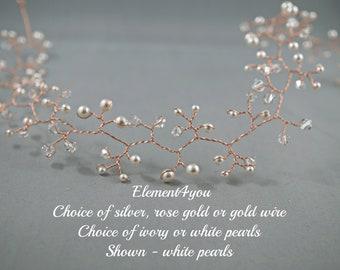 Bridal hair vines, Silver Rose gold wire vines, Swarovski cream white ivory pearls, Bridal hair accessories, Hair vine tiaras, Headpiece