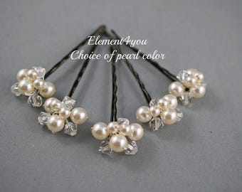 Ivory hair clips, Set of 5, Bridal Bridesmaid hair do, French Chignon bobby pins, Pearls crystals clusters, Wedding hair clips, White pink