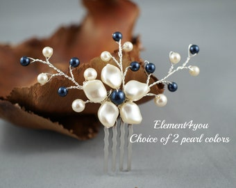 FLOWER hair comb, Bridesmaid accessories, Champagne ivory pearls, Somehting blue Wedding hair piece, Flower Girl, Small Hair fascinator