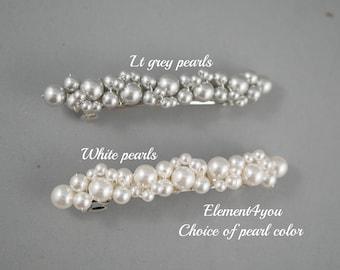 PEARL BRIDAL Wedding Barrette, Beaded Pearl Barrette, Pearl Hair Accessory, Wedding Hair Clip, French Barrette, Cream Ivory White
