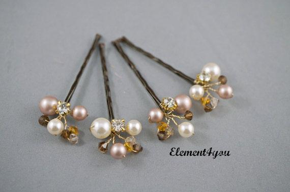 Accessori Da Bagno Con Swarovski : Caduta bridal bobby pins swarovski avorio champagne perla etsy