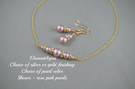 Bridesmaid Jewelry Sets Gold Pearl Wedding Jewelry Pearl Etsy