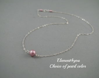Bridesmaid necklace, Sterling silver, Swarovski 8mm pearls, Everyday necklace, Bridal jewelry, Bridesmaid gift, Single floating pearl