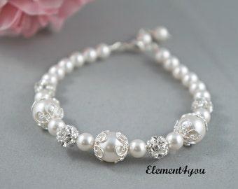 Bridal bracelet Bridesmaid bracelet Wedding pearl Bridesmaid jewelry Rhinestone pearl silver Swarovski Pearls ivory white cream color