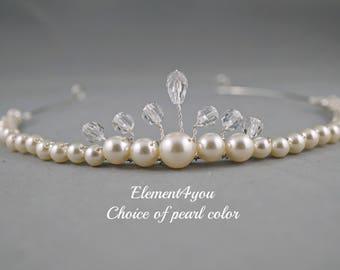 Flower girl tiara, Pearl crystal tiara, Bridal tiara, Bridesmaid headpiece, Wedding bridal headband, Swarovski cream white ivory pearl