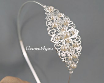 BRIDAL TIARA Headband Swarovski pearls Cream Ivory White Wedding Headpiece Bridal Hair accessory Side Headband Silver Hair Band Rhinestone