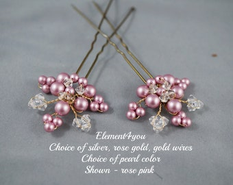 BRIDAL HAIR PIECE Wedding set of 2 pins. Leaves Hair vines. Ivory gold. Pearl hair pins. Wedding accessories. White pearls. Crystal pins