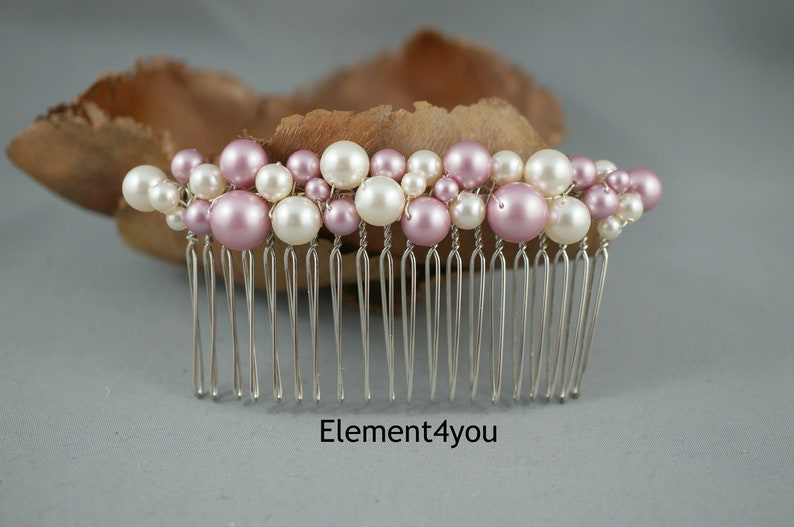 Wedding pearl comb Silver metal comb Pearl cluster Ivory Pink pearls Hair wedding pice Beaded SALE 050 Bridal Hair comb