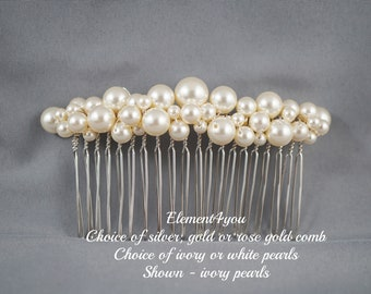 COMB - Bridal comb pearl Hair Accessories Wedding hair piece Swarovski white ivory pearl Beaded silver comb Veil attachment Tiara Fascinator