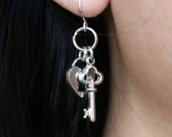 Key and Lock Earrings, Lock and Key Earrings