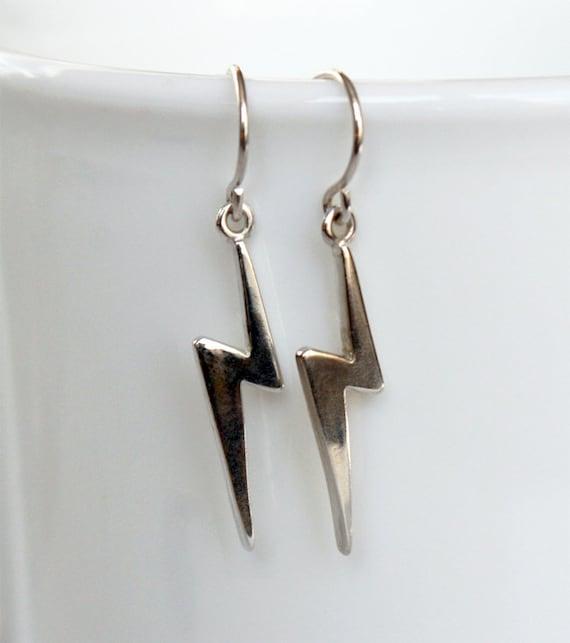 Sterling Silver Lightning Bolt Earrings Lightning Earrings Etsy