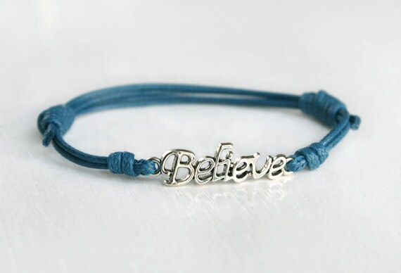 /'Believe/' Leather Charm Bracelet with Turquoise in Sterling Silver