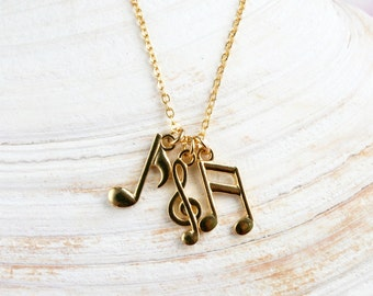 Music Note Necklace, Music Necklace - Gold Plated