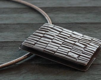 Fused handmade silver pendant necklace