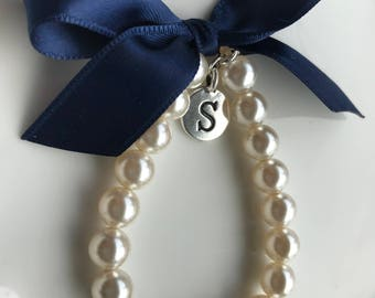 Girl's Personalized bracelet with Navy blue ribbon and initial charm, Flower Girl Gift