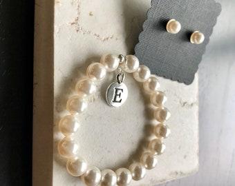 Gir'sl personalized bracelet and earring set,initial girls bracelet with earrings,  flower girl gift, custom made