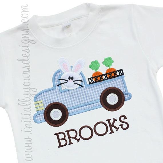 Funny Easter Boy Bunny w Carrot Car Applique Shirt or Onesie!!