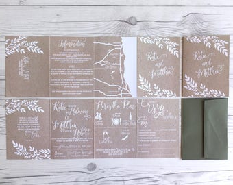 Kraft Wedding Invitations · Accordion Fold All in One Invitation · Wedding Itinerary & Tear Off RSVP included  (217)