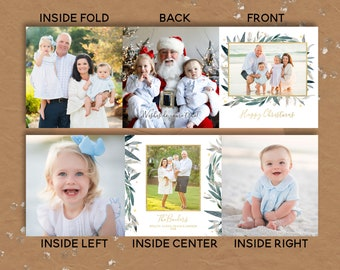 tri fold christmas cards greenery and gold custom holiday cards folded custom designed christmas cards - Tri Fold Christmas Cards