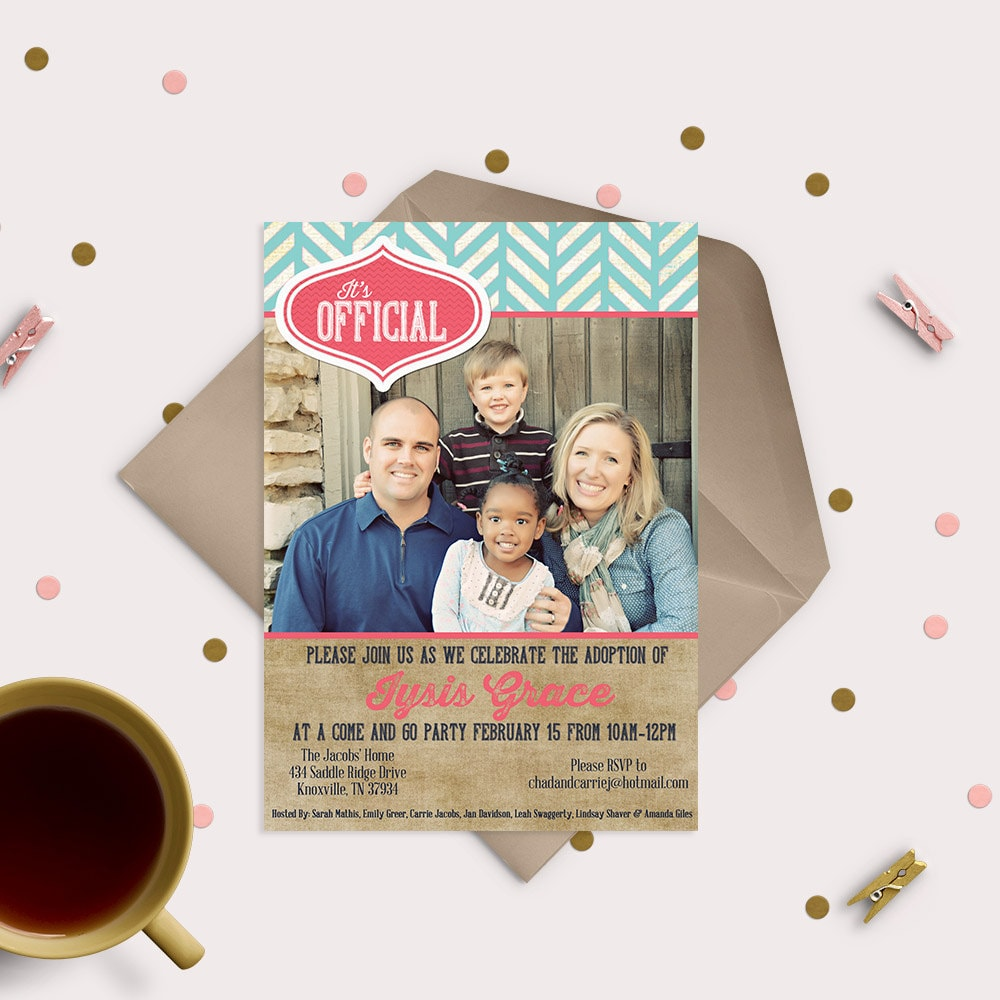 Pink & Turquoise Adoption Announcement Cards
