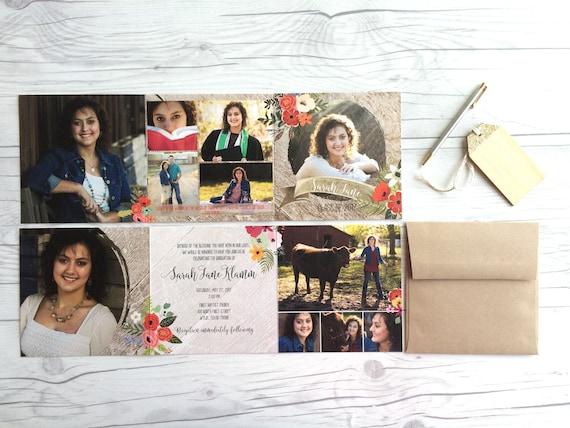tri fold graduation invitation announcements custom design etsy