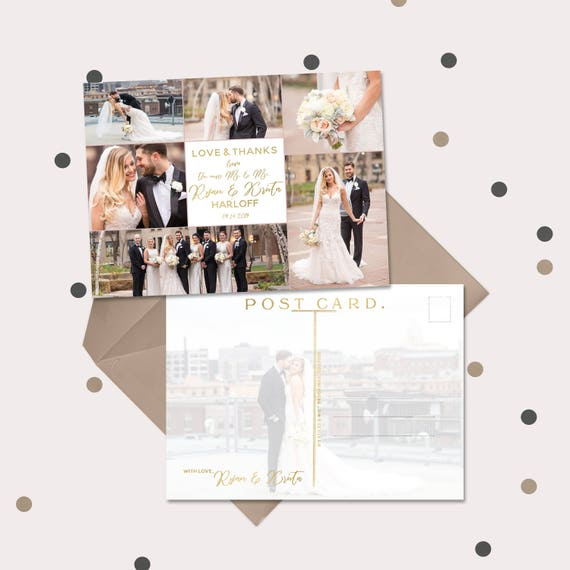 Wedding Thank You Cards Or Magnets Gold White Thank You Etsy