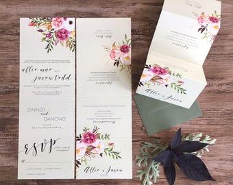 Wedding Invitation Suite · Calligraphy Modern Accordion Fold Wedding Invitation · Tear Off RSVP Card · Custom Invitations (216)