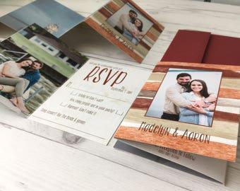 Wedding Invitations · Fun Watercolor Photo Invitation · Customize colors ·  all in one accordion fold wedding invitations (220)