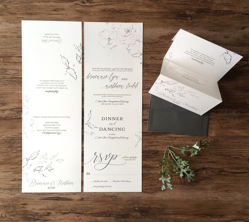 Wedding Invitation Suite All In One Accordion Fold Wedding Etsy