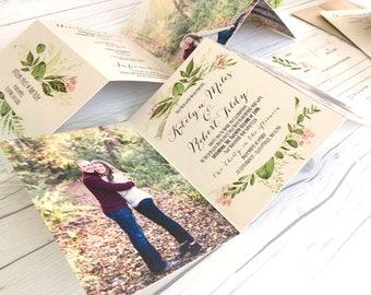 Wedding Invitation Suite · Greenery Accordion Fold Wedding Invitation · Invitation Set · Custom Invitations (221)