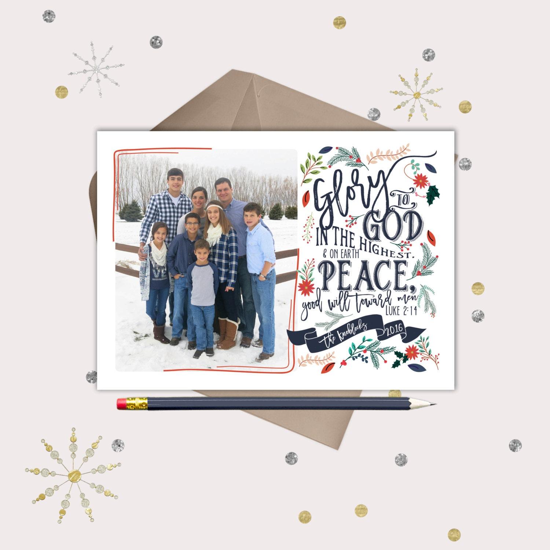 Christian Christmas Cards Vintage Floral Luke 2:14 Bible | Etsy