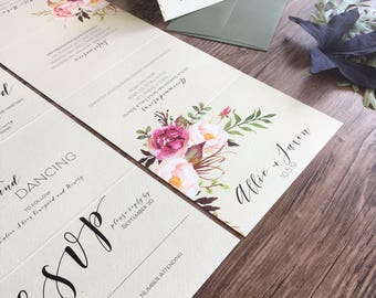 Fall Floral Wedding Invitation Suite · Calligraphy Wedding Invitations · Tear Off RSVP Card · (216)