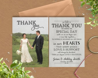Wedding Thank You Card with pre-printed Thank You Message on Back!  · 2 front side options