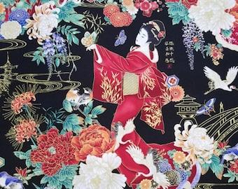 GEISHA IN GARDEN Asian Pattern Cotton Fabric 1/2 Yard New and Rare