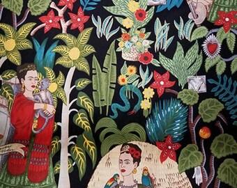 "FRIDA KAHLO MONKEY Pattern Cotton Fabric 18"" X 44"" -  New and Rare"
