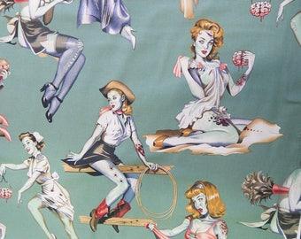"Beauties Brains Pin Up Girls Pattern Fabric, 18"" X 44"", Half Yard, Cotton Fabric, New, Rare, GREEN COLOR"