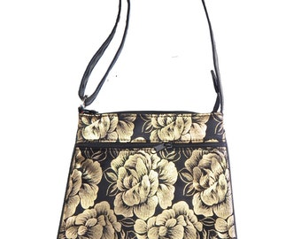"US Handmade Cross Overbody Bag With ""Shiny Gold FLOWERS"" Pattern Shoulder Bag Purse, New"