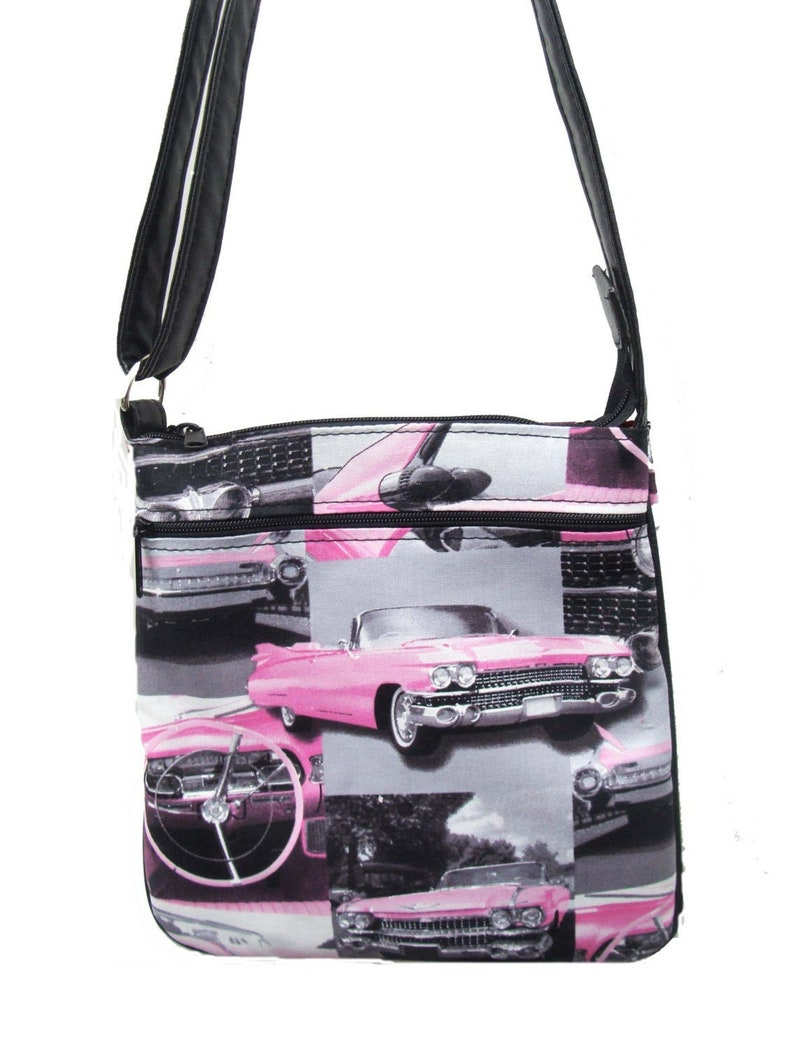 USA handmade Cross Overbody Bag Pink Cadillac 50sPattern Shoulder Bag Purse Cotton Fabric New