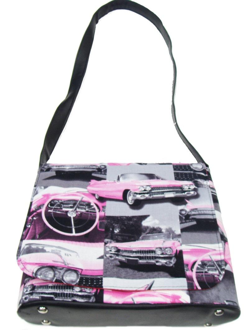 Rare USA Handmade Messenger Bag Shoulder Bag Pink Cadillac Old Cars Rockabilly 50/'s Pattern Alexander Henry Cotton Fabric New