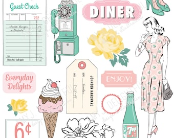 Printable Small Town Feel die cuts! #2 -Digital File Instant Download- Happy Planner, ephemera, pastels, collage, scrapbooking, bando, retro