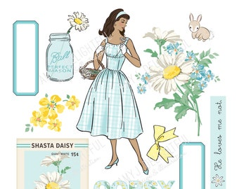 Printable DAISY die cuts! - Digital File Instant Download- turquoise and yellow, garden, ephemera, women of color, scrapbooking, bando,