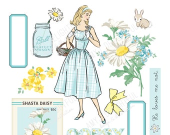 Printable DAISY die cuts! - Digital File Instant Download- turquoise and yellow, garden, ephemera, pastels, collage, scrapbooking, bando,