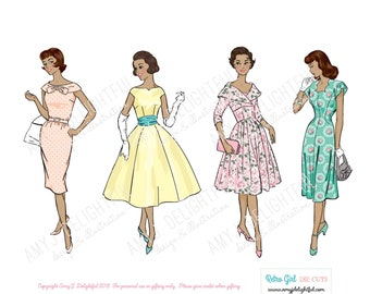 Printable RETRO GIRLS ReMix set of die cuts! - Digital File Instant Download- women of color, hand drawn, vintage lady, 1960s, collage