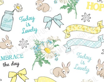Printable DAISY stickers!-Digital File Instant Download- Spring, bows, ribbons, bunny, planner, bible journal , Happy Planner, hand drawn