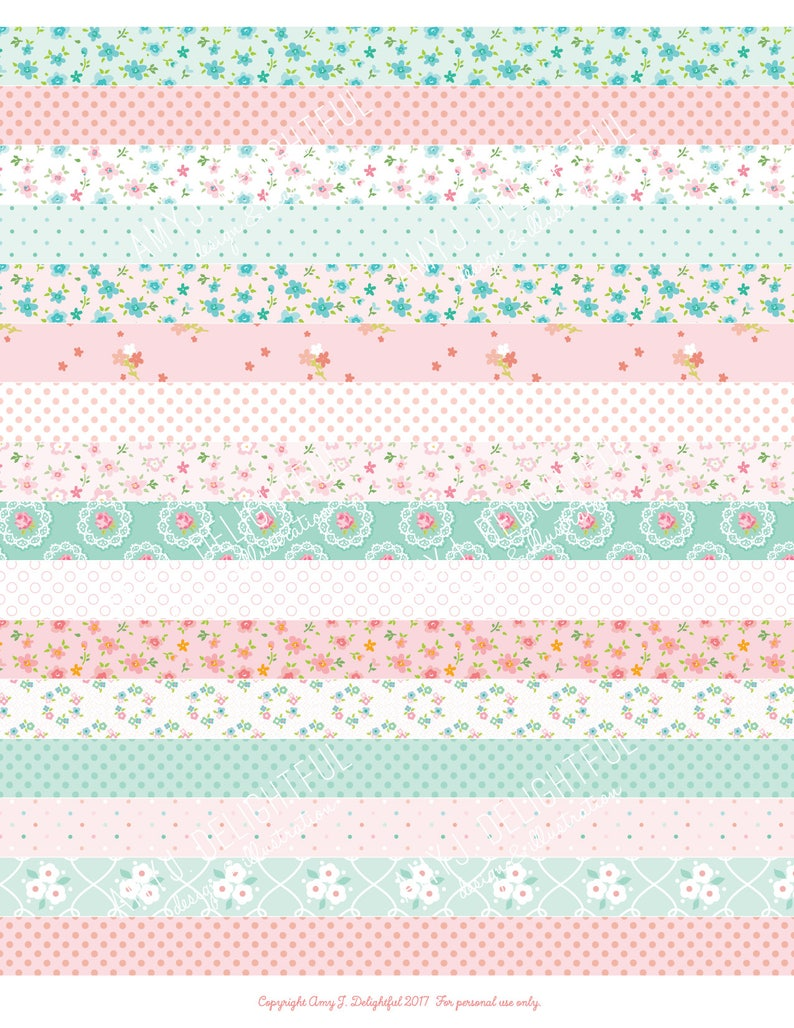 graphic regarding Printable Washi Tape identify Printable WASHI TAPE stickers!-Electronic Record Fast Obtain- polka dots, florals, bible journaling, Content Planner, Do it yourself, pastel, crimson
