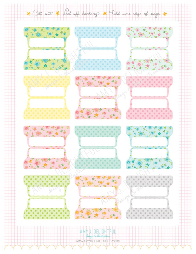 photograph about Printable Tabs titled Printable Blank PLANNER Report TABS - Electronic Report Prompt Down load- floral, polka dots, pastels Residence Control